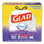 Glad OdorShield Tall Kitchen Drawstring Bags, Lavender Breeze, 13 gal, White, 80/Box