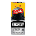 Glad Drawstring Large Trash Bags, 30 x 33, 30gal, 1.05mil, Black, 15/BX, 6 BX/CT
