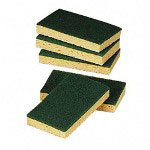 Cardinal Scour Sponge, Nylon/Cellulose, 5/Pack, Yellow/Green