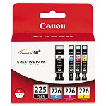 Canon 4530B008AA (PGI-225, CLI-226) Ink Tanks, 19 mL, 9 mL, CMYK, 4/Pack