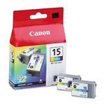 Canon BCI 15 Ink/Tank for i70, i80, i90, Color, 2/Pack