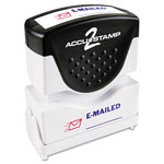 Consolidated Stamp Accustamp2 Shutter Stamp with Microban, Red/Blue, EMAILED, 1 5/8 x 1/2
