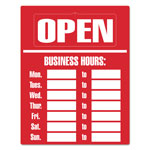 Consolidated Stamp Business Hours Sign Kit, 8 x 12, Red