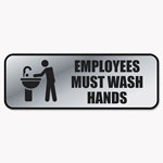 Consolidated Stamp Brushed Metal Office Sign, Employees Must Wash Hands, 9 x 3, Silver