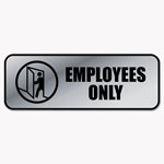 Consolidated Stamp Brushed Metal Office Sign, Employees Only, 9 x 3, Silver