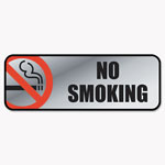 Consolidated Stamp Brush Metal Office Sign, No Smoking, 9 x 3, Silver/Red