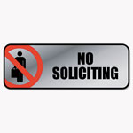 Consolidated Stamp Brushed Metal Office Sign, No Soliciting, 9 x 3, Silver/Red