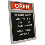 Consolidated Stamp Message/Business Hours Sign, 15 x 20 1/2, Black/Red
