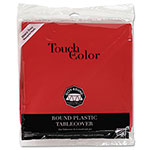 "Creative Converting Plastic Tablecovers, 82"" Round, Real Red"