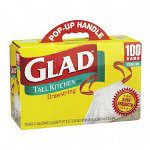 "Glad Glad White Drawstring Trash Bags, 13 Gallon, 0.95 Mil, 24"" X 48"", Box of 100"