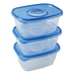 Glad GladWare Plastic Deep Dish Containers with Lids, 64oz, Clear/Blue, 3/Pack