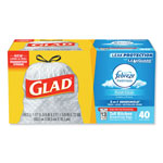 Glad Tall Kitchen Bags, Drawstring, 13Gal. 40BG/BX, White