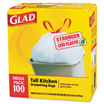 Glad Drawstring Tall Kitchen Bags, 13 gallon, .95mil, 24 x 48, White, 100/Box