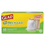 Clorox White Tall Kitchen Trash Bags, Draw String, Rec, 13Gal., 45/PK,