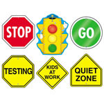 Carson Dellosa Publishing Company Sign Set Decoration: Stoplight, Stop Sign, Go Sign, Kids at Work