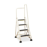 "Cramer Industries Four-Step Stop-Step Folding Aluminum Ladder w/Right Handrail, 66 1/4""H, Beige"