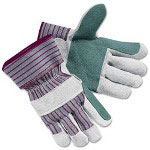 Crews Economy Leather Palm Gloves, Large, Striped