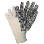 Crews Dotted Canvas Gloves, White
