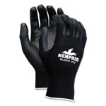 Memphis Glove Economy PU Coated Work Gloves, Black, Small, 1 Dozen