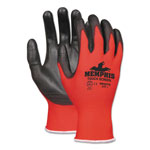Memphis Glove Touch Screen Nylon/Polyurethane Gloves, Black/Red, Large