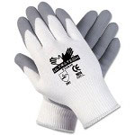 Crews Ultra Tech Foam Seamless Nylon Knit Gloves, Medium, White/Gray
