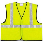 Crews Class 2 Safety Vest, Fluorescent Lime w/Silver Stripe, Polyester, 2X