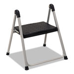 "Cosco Folding Step Stool, 1-Step, 200lb, 9 9/10"" Working Height, Platinum/Black"