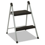 "Cosco Folding Step Stool, 2-Step, 200lb, 16 9/10"" Working Height, Platinum/Black"