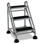 Consolidated Stamp Rolling Commercial Step Stool, 3 Step, Platinum/Black