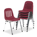Cosco Graduate Series Commercial Stack Chairs, Burgundy/Chrome, 5/Carton