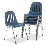 Cosco Graduate Series Commercial Stack Chairs, Navy/Chrome, 5/Carton