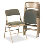 Cosco Fabric Padded Seat/Back Folding Chair, Taupe Frame, Taupe