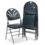 Cosco XL Fanfare Vinyl Padded Seat/Molded Back Folding Chair, Black