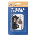 CH Sports Whistle with Black Nylon Lanyard, Metal, Silver