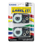 "Casio 1/2"" Tape Cassettes for EZ Label KL100/780/7200/8100/C500, Black on White, 2/Pack"