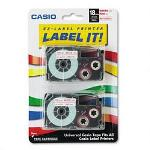 "Casio 3/4"" Tape Cassettes for EZ Label KL100/780/7200/8100/C500, Red on White, 2/Pack"