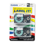 "Casio 3/4"" Tape Cassettes for EZ Label KL100/780/7200/8100/C500, Black on Clear, 2/Pack"