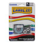 Casio Tape Cartridge, 9 Millimeter, White/Clear