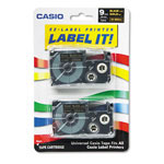 "Casio 3/8"" Tape Cassettes for EZ Label KL100/780/7200/8100/C500, Gold on Black, 2/Pack"
