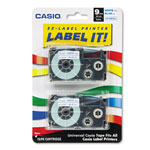 "Casio 3/8"" Tape Cassettes for EZ Label KL100/780/7200/8100/C500, Blue/White, 2/Pack"