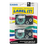 "Casio Black/Clear 3/8"" Tape Cassettes for EZ Label KL100, 780, 7200, 8100, C500"