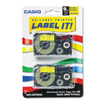 "Casio 3/8"" Tape Cassettes for EZ Label KL100/780/7200/8100/C500, Black/Yellow, 2/Pack"
