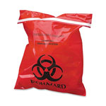 "CareTek Stick-On Biohazard Waste Bags, 1.4 qt, 2 mil, 9"" x 10"", Red, 100/Box"
