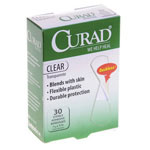 "Curad Clear Bandages - Clear, 3/4"" x 3"", St, Lf, 30/Bx"
