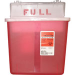 Covidien Sharps Containers, Polypropylene, 5 qt, 4 3/4 x 10 3/4 x 11 1/2, Red