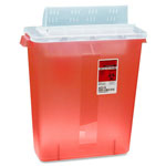 Covidien Biohazard Sharps Container W/Clear Lid, 3 Gallon, Red