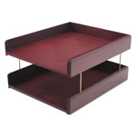 Carver Wood Products Genuine Hardwood Double Desk Tray, Letter Size, Mahogany Finish