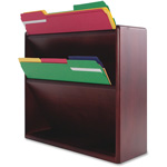 "Carver Wood Products Hardwood Double Slot Wall File, 11.75"" x 13.25"" x 4.25"", Mahogany"