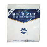 "Creative Converting Round Plastic Tablecovers, 82"" White"