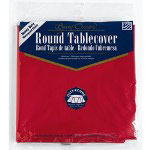 Creative Converting 40127 Real Red Round Plastic Tablecover, 82""